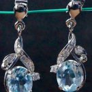 Sterling Silver 925 Dangle Earring oval Blue Topaz AD Gemstone 1.20 x 0.45 (278)