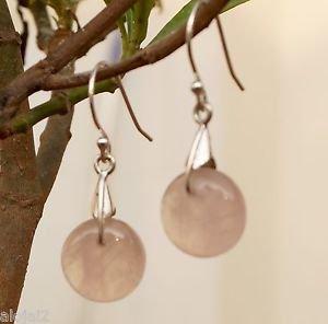 925 Fine Sterling Silver Hook Earrings Round Gemstone Rose Quartz (447)