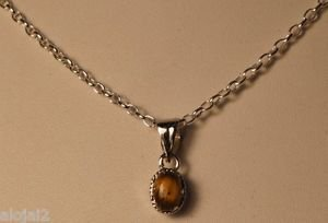 "92.5% Sterling Silver Tiny Pendant Tiger's Eye Gemstone with Link Chain 18""(756)"