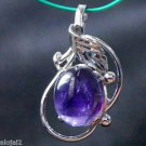 Sterling Silver 92.5% Pendant Purple Spiral Amethyst Gemstone 1.10x0.60 inch 275