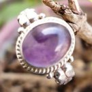 Ring Amethyst Size 6.25 Oval Stone 92.5% Solid Sterling Silver Handmade (102)