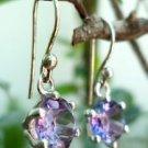 Earrings Solitaire Hook Amethyst Natural Gemstone 92.5% Sterling Silver (215)