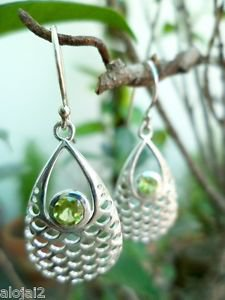 "92.5% Sterling Silver Jali Earrings Peridot Gemstone 1.10 x0.30"" handmade (219)"