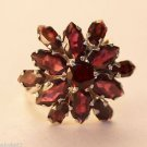 925 Sterling Silver Ring Garnet Cluster Marquise Size 8.25 handmade (676)