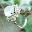 Ring Sterling Silver 92.5 Gemstone Moonstone AD Cluster size 6 oval stone (332)
