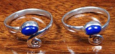 Solid Sterling Silver 925 Toe rings Lapis lazuli Gemstone Handmade Pair (375)