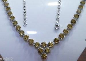 Necklace Gemstone 6 mm Round Citrine 18.50 inch length 925 Sterling Silver (289)