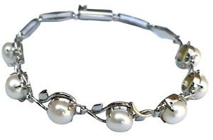 Sterling Silver 92.5% Bracelet Leaves Carving White Pearl Tennis Handmade (410)