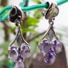 Sterling  925 Silver Handmade Earrings Natural Amethyst Hook Fine Jewellery(123)