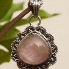 "Pendant Solid Sterling Silver 92.5% Gemstones Rose Quartz 1.45x0.95"" (441)"