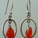 """92.5% Sterling Silver Earring Pear Carnelian Handmade 1.35x0.55"""" (565)"""