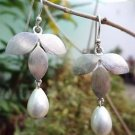 """Earrings Solid Sterling Silver 92.5% with Natural White Pearl 1.85x0.90"""" (172)"""