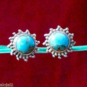Sterling Silver 925 handmade Ear tops Blue Turquoise stud 0.40 x0.40 inch (268)