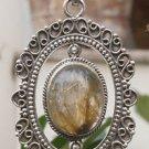 Pendant Designer Natural Gemstone Golden Rutile Handmade 925 Sterling Silver 469
