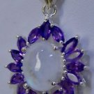 925 Sterling Silver Designer Marquise Amethyst & Rainbow Moonstone Pendant (525)