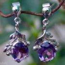 "Big Amethyst Earrings handmade 92.5% Sterling Silver purple 1.20x0.55"" (237)"