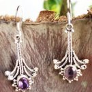 "92.5% Sterling Silver Hook Earrings Amethyst  handmade purple 1.80""x0.70"" (136)"