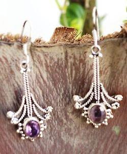 "92.5% Sterling Silver Hook Earrings Amethyst  handmade purple 1.80""x0.70"" (136)"
