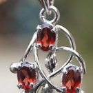 "Solid Sterling Silver 92.5% Pendant Natural Garnent Gemstone 1.25 x 0.65"" (629)"
