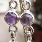 Earring 925 Sterling Silver with Natural Gemstone Amethyst 1.50 x 0.30 inch (9)
