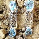 925 Sterling Silver Natural Gemstone Blue Topaz Handmade Earrings Jali (44)