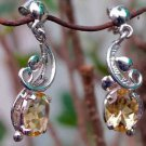 "92.5% Sterling Silver Citrine Ear Tops in Nature style 1.15""x0.40"" (232)"