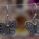 "Sterling Silver 92.5% Earrings Butterfly Filigree work Dangle 1.30 x 0.80"" (533)"