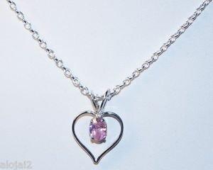 "Sterling Silver 925 Heart Pendant Pink American Diamond handmade 0.90x0.62""(758)"