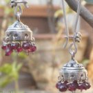 "Sterling Silver 92.5% Gemstone garnet jhumka Earring 1.8x0.44"" handmade (698)"