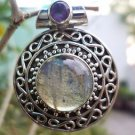 Solid Sterling Silver 925 Pendant Round Labradorite and Amethyst Handmade (178)