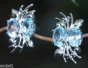 """925 Sterling Silver Stud Earring oval Gemstone Blue Topaz 1.20 x 0.45"""" (641)"""
