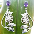 925 Sterling Silver Earrings Designer Amethyst and Zircon Natural Gemstone (17)