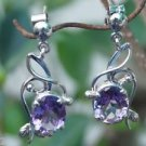 "92.5% Sterling Silver Earrings Big Amethyst handmade purple 1.35x0.55"" (239)"