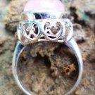 92.5% Solid Sterling Silver Ring Natural Rose Quartz Gemstone size 8 jali (170)