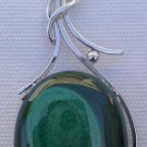 "Sterling Silver 92.5% Pendant Natural Malachite Handmade 2.80x1.10"" (396)"