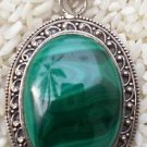 "oval Pendant natural Gemstone Malachite 92.5% Sterling Silver 2.1x1.25"" (393)"