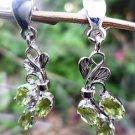 "925 Sterling Silver Earrings Peridot Natural Gemstone 1.10 x0.30"" handmade (47)"