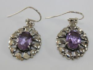 "Sterling Silver 92.5% hook Earrings Amethyst gemstone Handmade 0.90x0.40"" (395)"