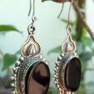 Sterling Silver Earring 92.5% Black Onyx Dangle 2.50 x 0.80 inch oxidised  (193)