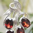 925 Sterling Silver Pendant Natural cut Gemstone Garnet Handmade oval (666)