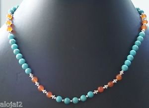 "925 Sterling Silver Bead Natural Carnelian Turquoise Necklace 19"" Toggle (546)"