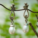 Earrings 92.5% Sterling Silver White Pear Pearl hanging Dangle 1.40x0.40 (227)