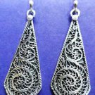 "Earring Handmade Filigree work 925 Sterling Silver 5.00grams 1.75 x 0.55"" (32)"