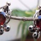 "Eartops Stud Natural Gemstone Garnet Handmade 925 Sterling Silver 0.65x0.45"" (78"