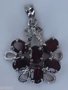 Solid Sterling Silver 925 Pendant Natural Garnet Gemstone  Handmade India (416)