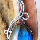 Labradorite Pendant Beautiful Oval Handmade Jewellery 925 Sterling Silver (187)