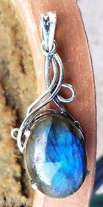 Labradorite Pendant Beautiful Oval Handmade Jewellery 925 Sterling Silver (187)