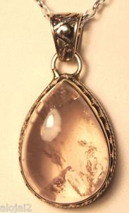 """925 Sterling Silver Pendant Rose quartz with link chain Handmade 1.55x0.83""""(746)"""