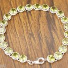 92.5% solid Sterling Silver Bracelet Peridot Handmade Gemstone lobster lock(475)