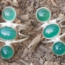 Solid Silver 925 Toe Rings Pair Gemstone Green Onyx Adjustable comfortable (504)